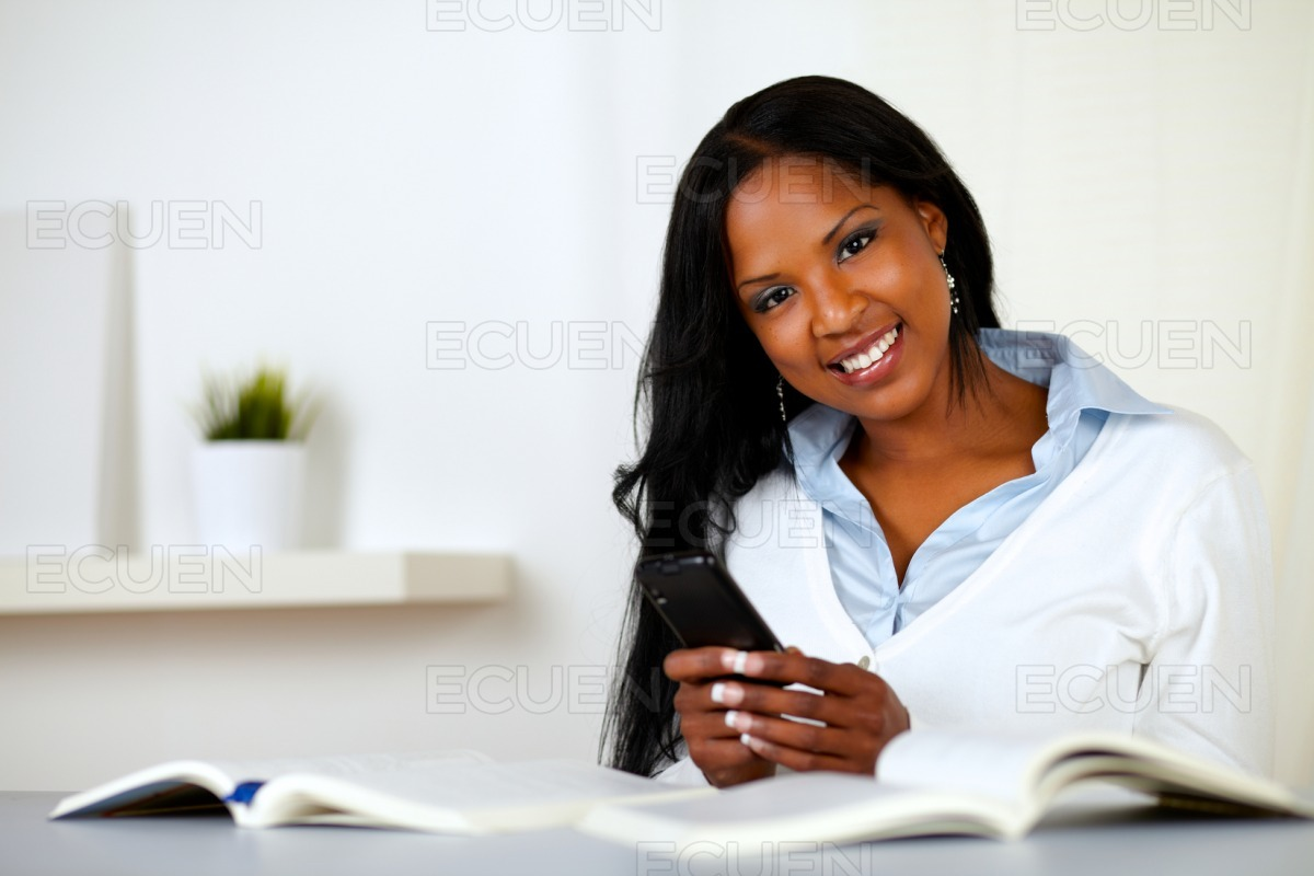 Afro-american young woman looking to you stock photo
