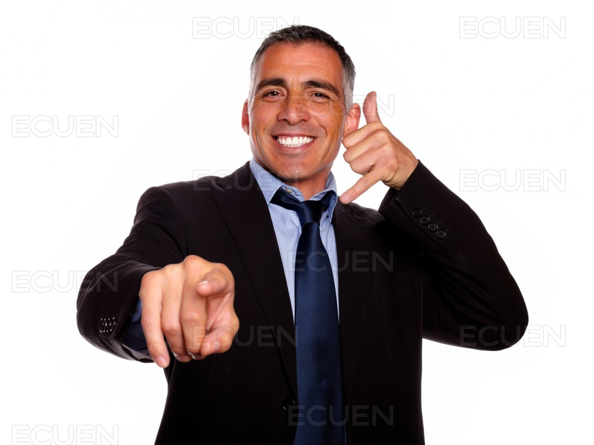 Ambitious broker pointing stock photo