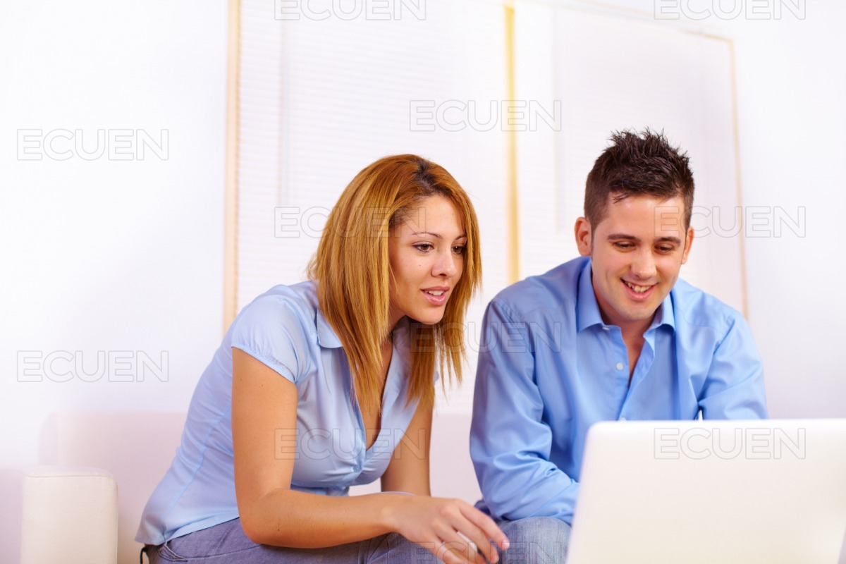 Business couple working stock photo