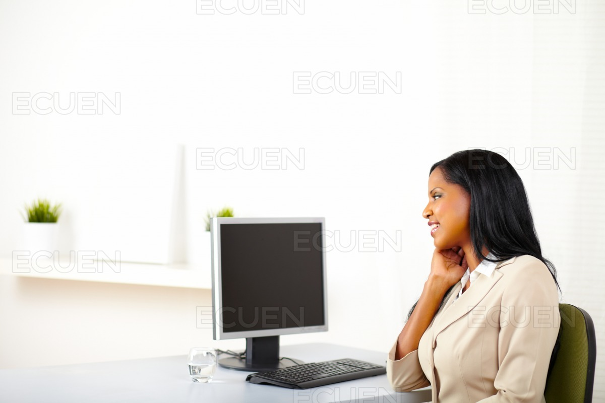 Business lady looking to the screen stock photo
