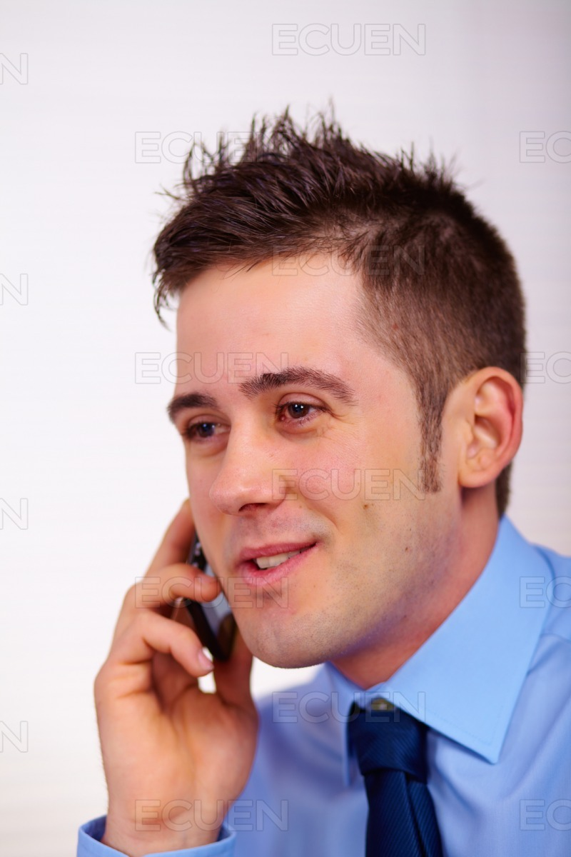 Business man on mobile phone stock photo
