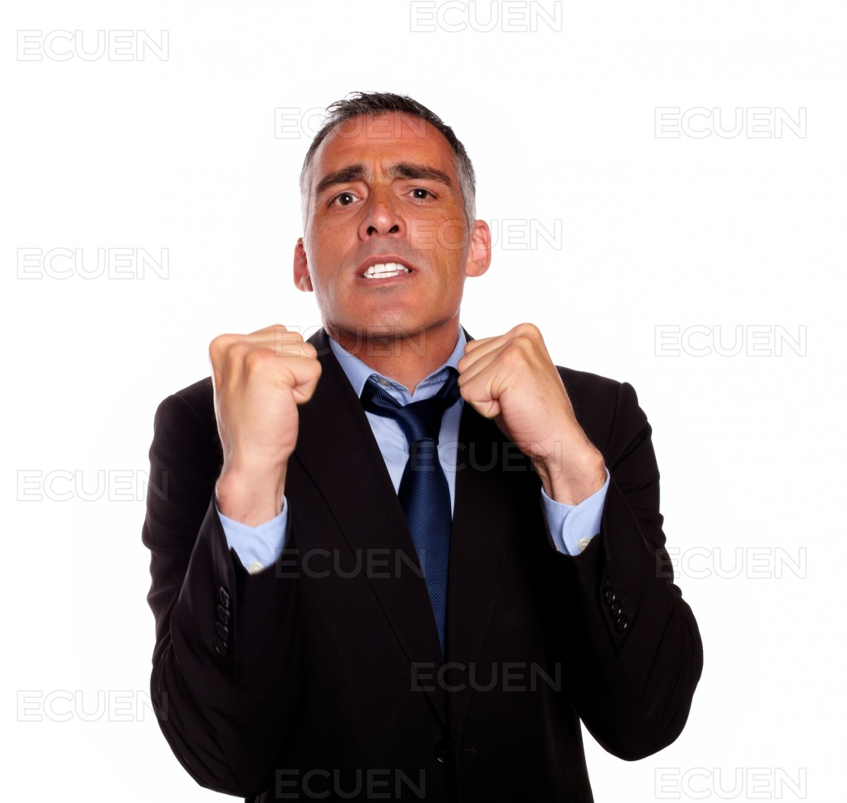 Business man with clenched fists stock photo