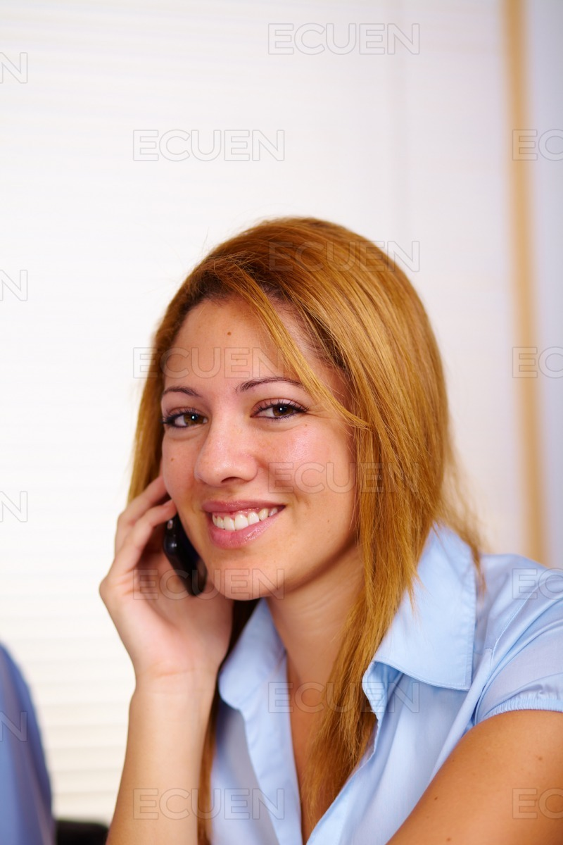 Business woman on mobile phone stock photo