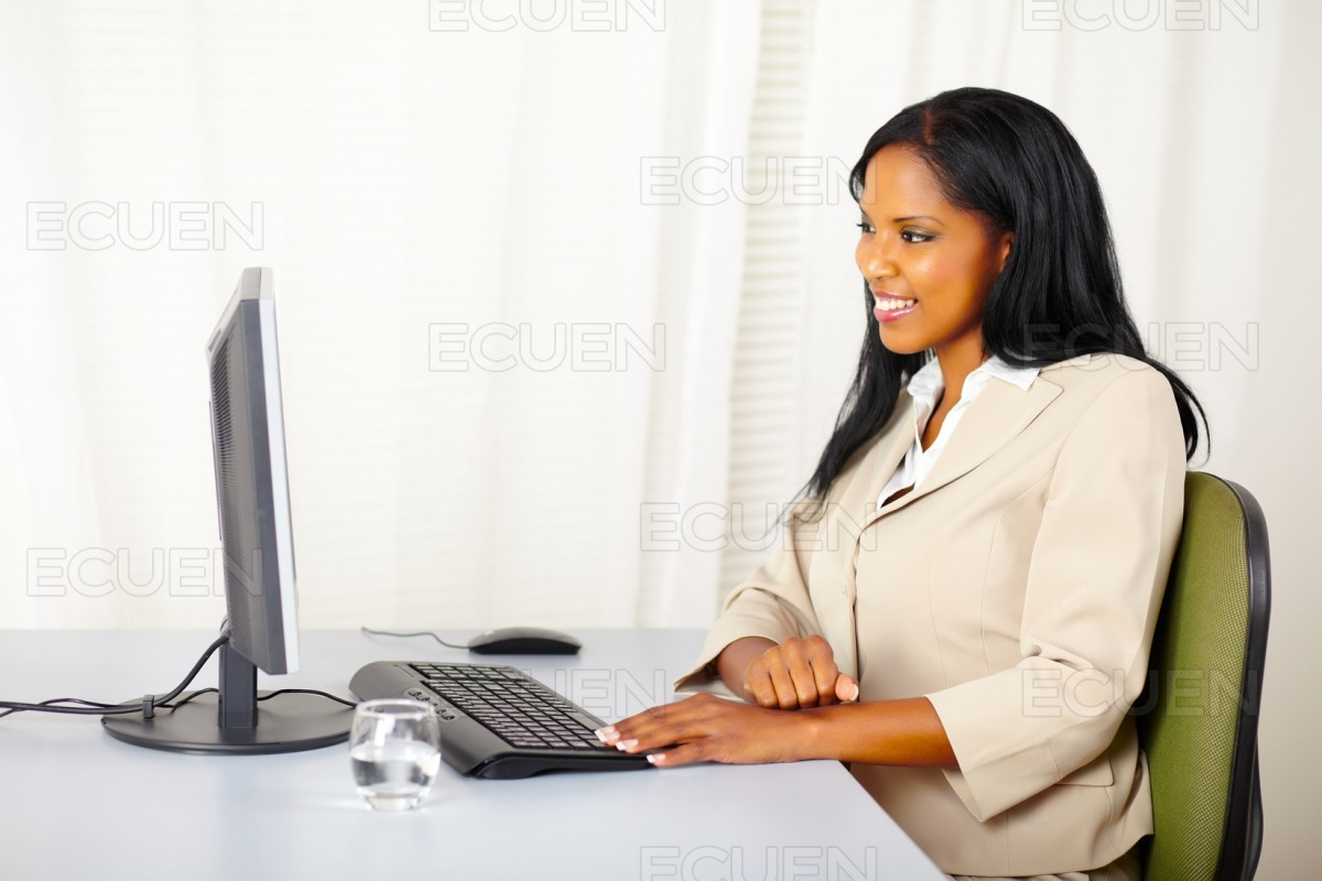 Businesswoman looking the computer screen stock photo