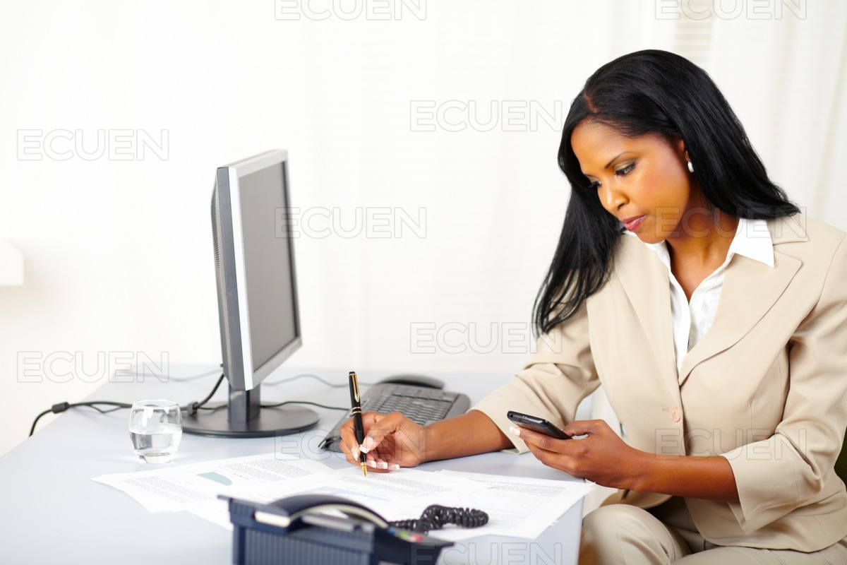 Businesswoman making a call stock photo