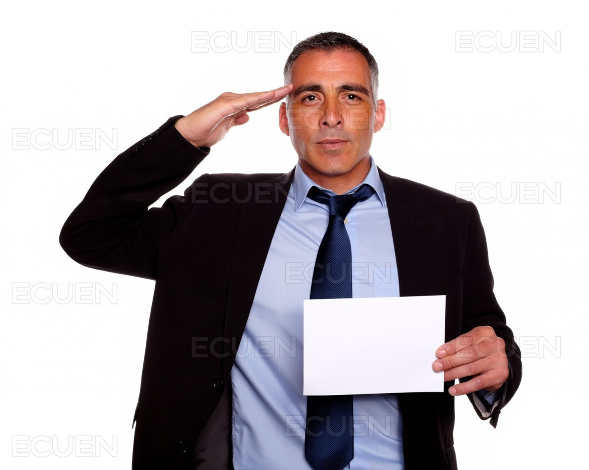 Entrepreneur greeting and holding a white card stock photo