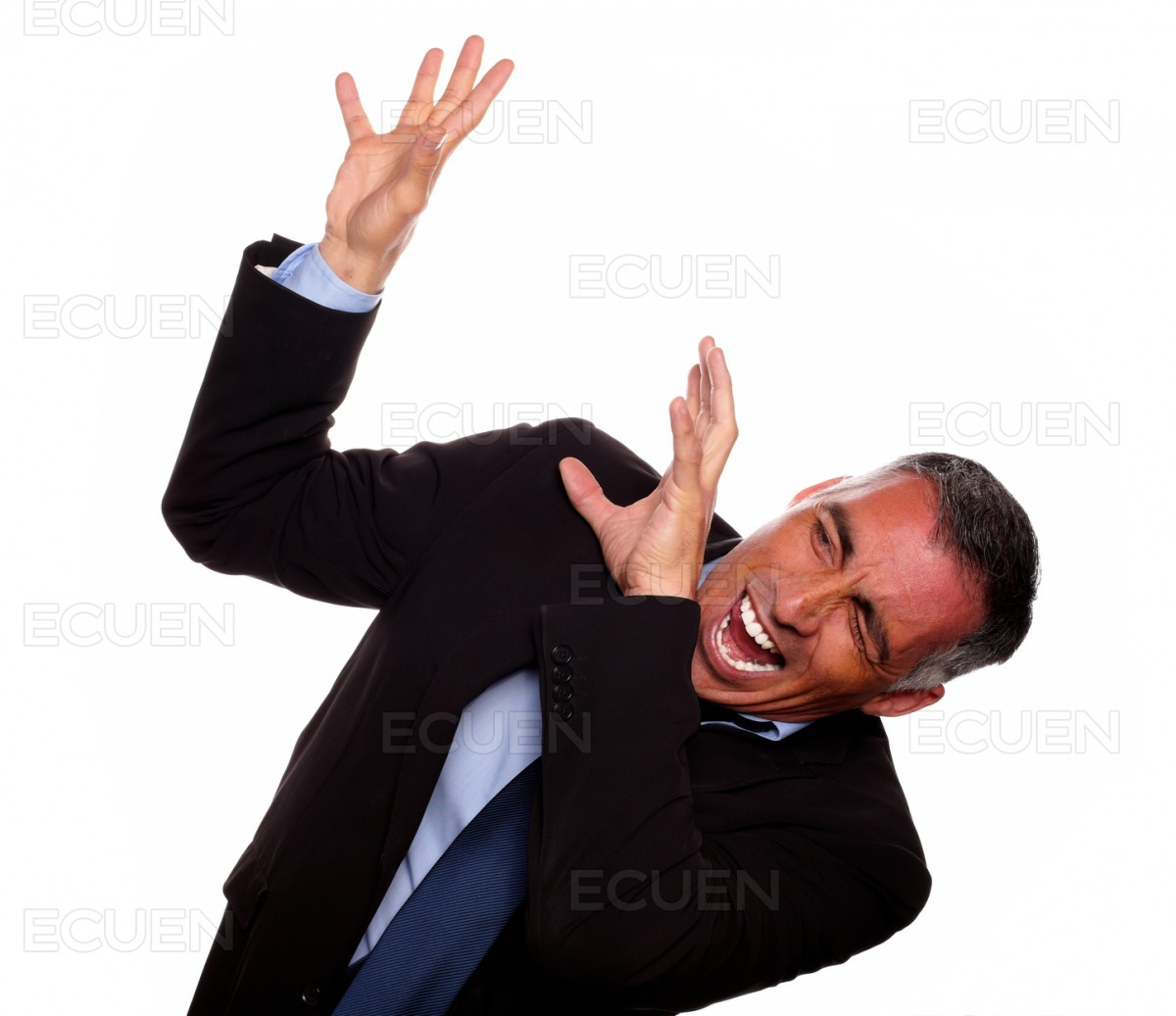 Excited executive screaming with hands up stock photo