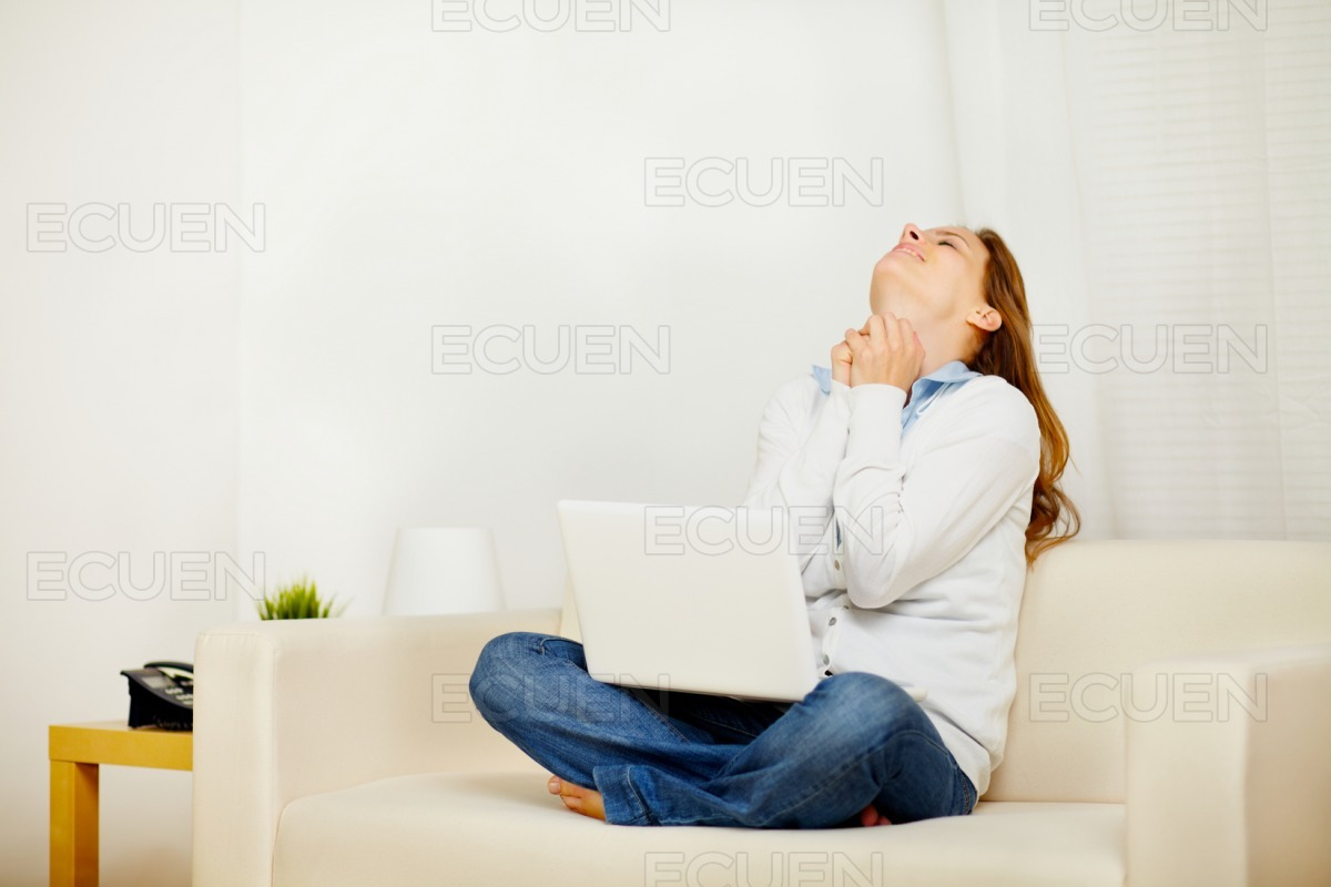 Excited woman celebrating a victory on laptop stock photo