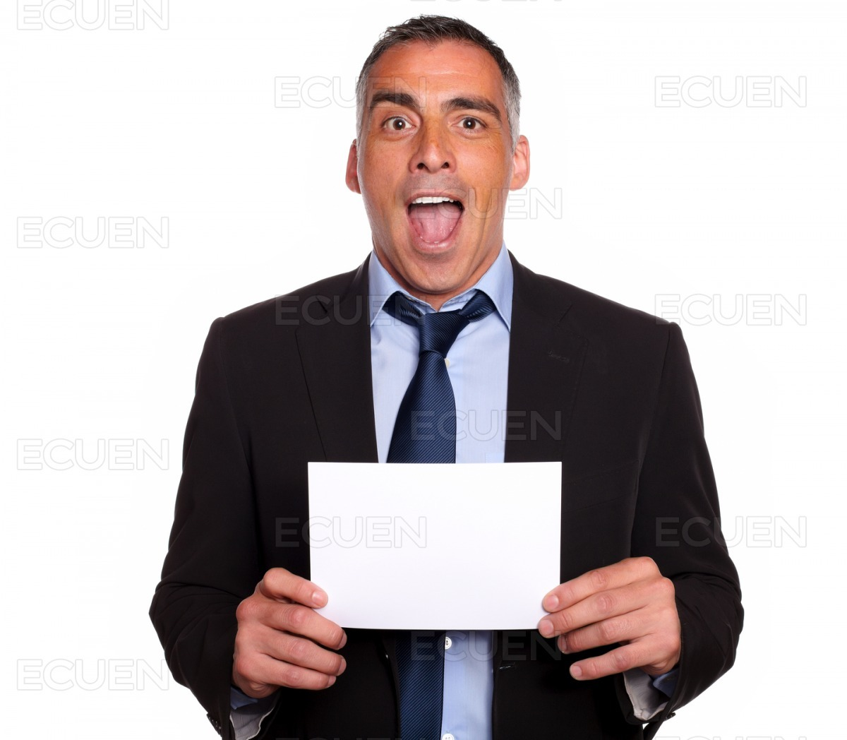 Hispanic friendly man showing a while card stock photo