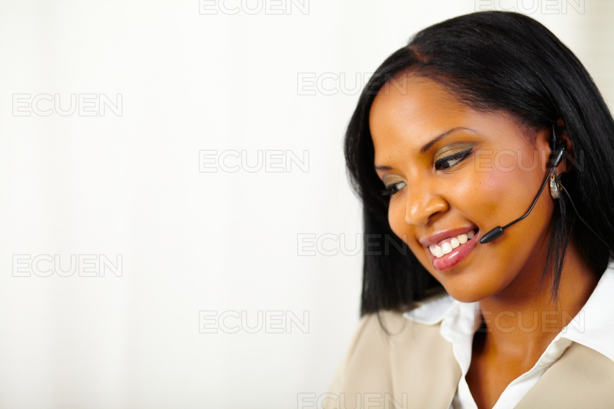Isolated close up receptionist at work stock photo