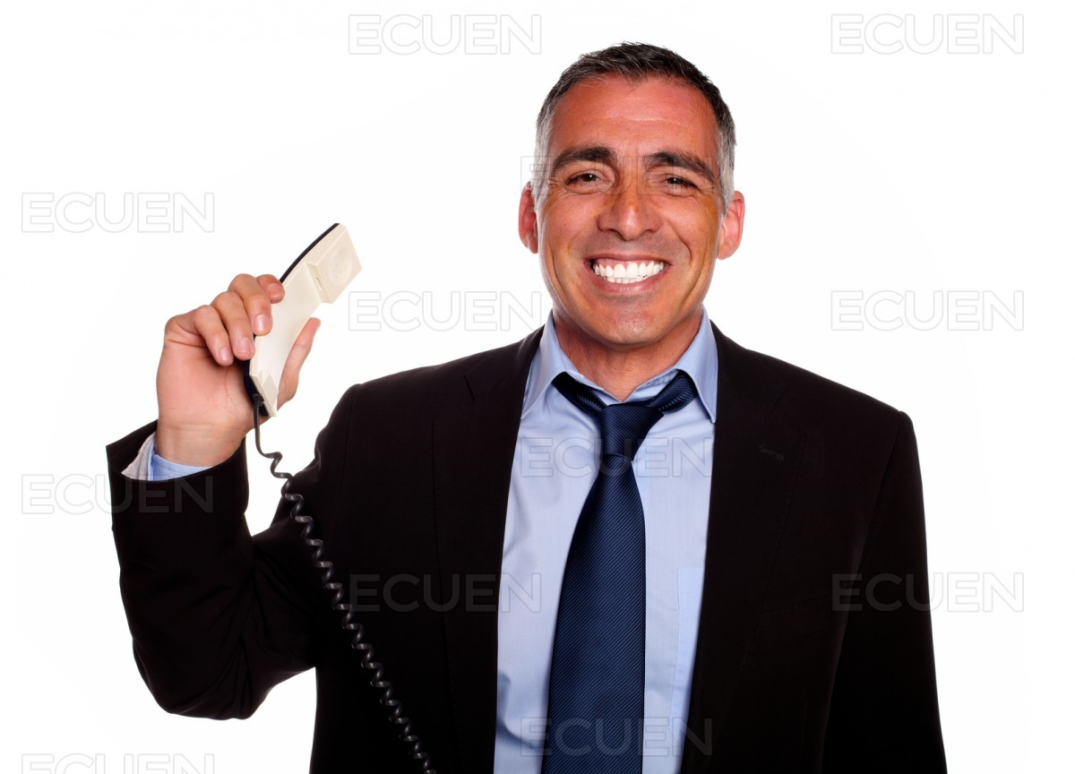 Professional person smiling with a phone stock photo