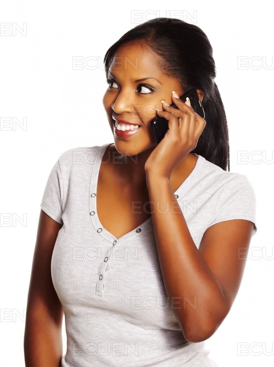 Woman using a mobile stock photo