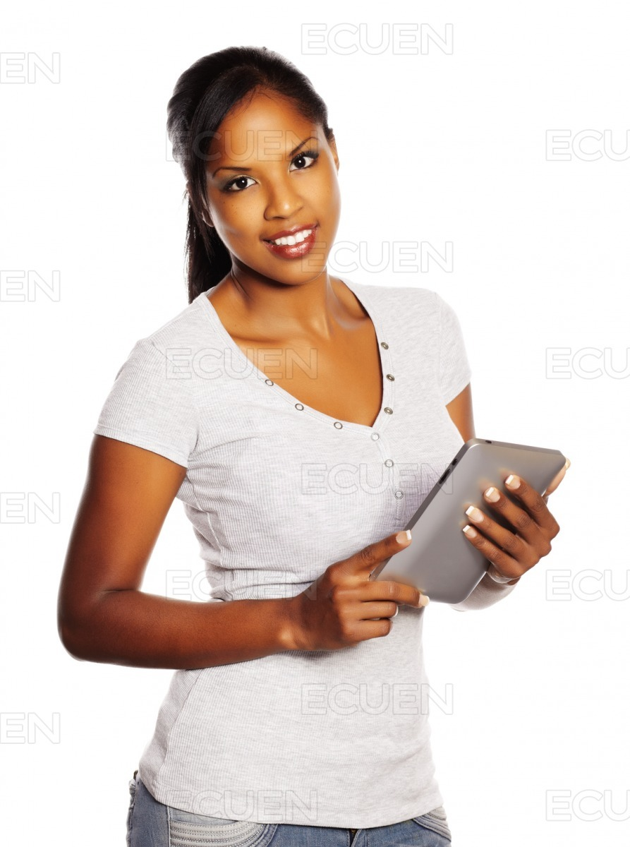 Woman using a Tablet PC stock photo