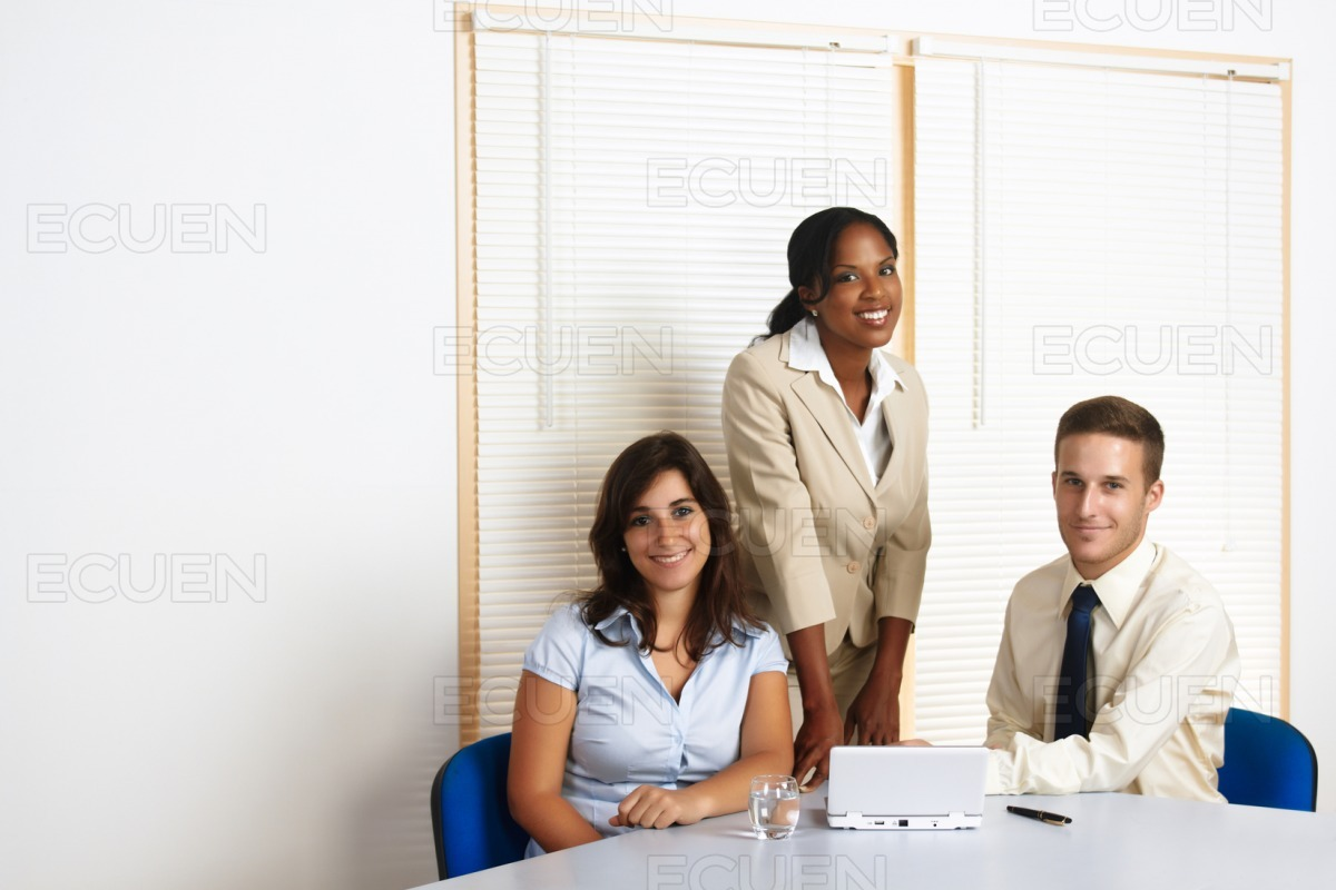 Working group of business people stock photo