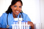 Afro-american nurse woman looking at you