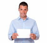 Attractive latin guy holding a white card