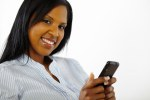 Attractive young woman using a mobile