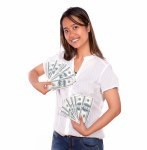 Charming asiatic young woman with cash money