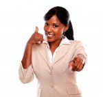 Charming businesswoman pointing at you