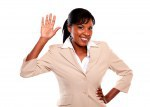 Ethnic businesswoman with hand up