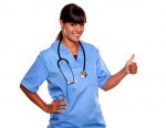 Pretty nurse smiling and showing you ok sign