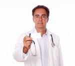Professional doctor holding a blank white card