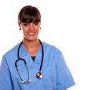 Smiling medical doctor woman with a stethoscope