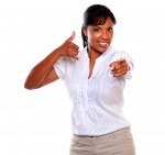 Smiling woman pointing at you saying call me