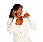 Woman saying call me while speaking on cellphone