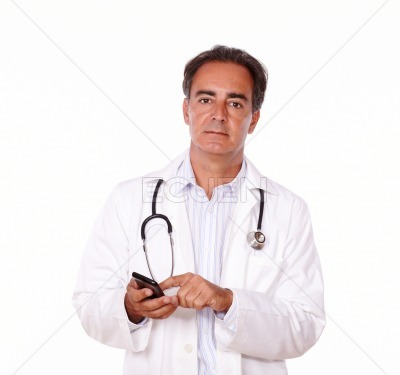 Adult charismatic doctor sending a message