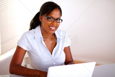 Afro-american businesswoman looking at you