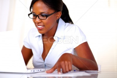 Afro-american female studying