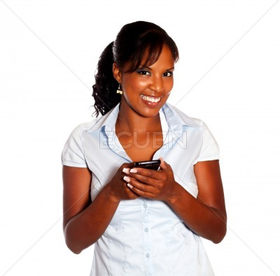 Afro-american female with a cellphone