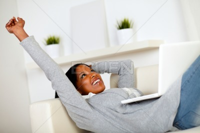 Afro-american woman browsing the Internet