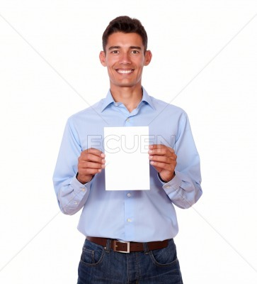 Attractive male standing and holding card