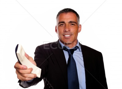 Attractive man offering make a call