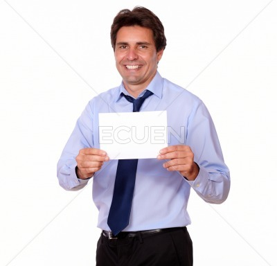 Attractive man smiling and showing you a card
