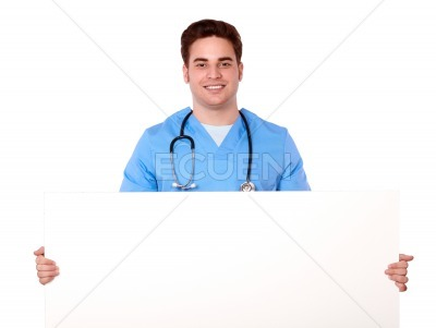 Attractive nurse man holding a blank white placard
