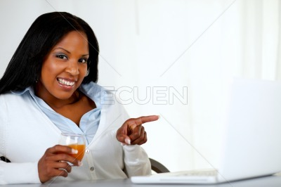 Beautiful afro-american woman pointing the laptop