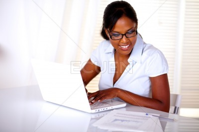 Black young woman studying