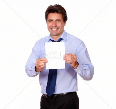 Business man smiling and showing you a card