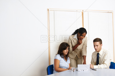 Business people working with a laptop