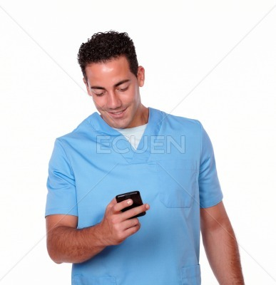 Charismatic nurse man sending a message