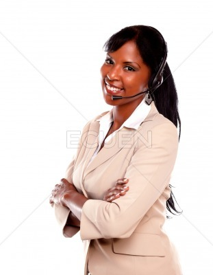 Charming call center employee smiling at you