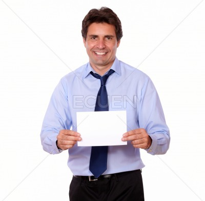 Charming man smiling and showing you a card