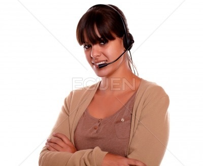 Charming young woman using headphones looking you