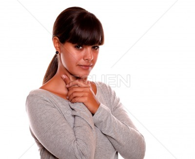 Charming young woman with throat pain