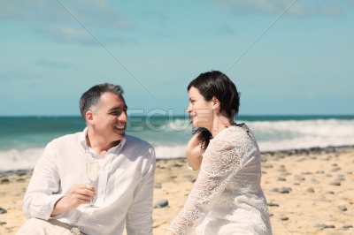 Couples talking and laughing