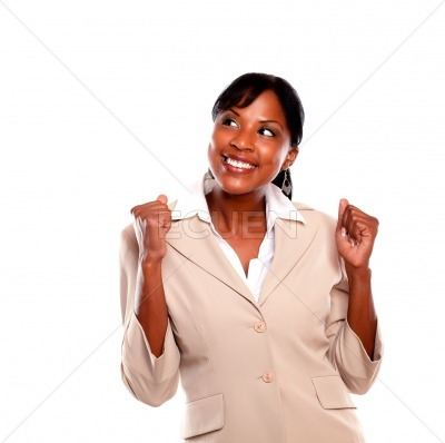 Excited businesswoman celebrating