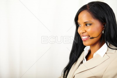 Female call operator at work